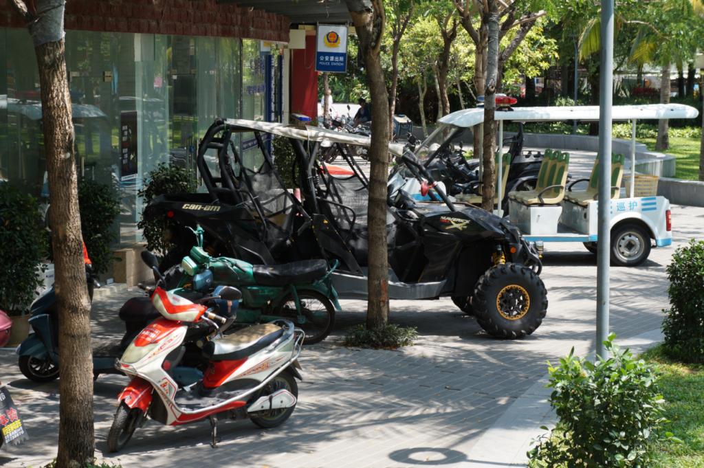 Police buggy near the police station in Da Dong Hai Park, Sanya, Hainan, China.