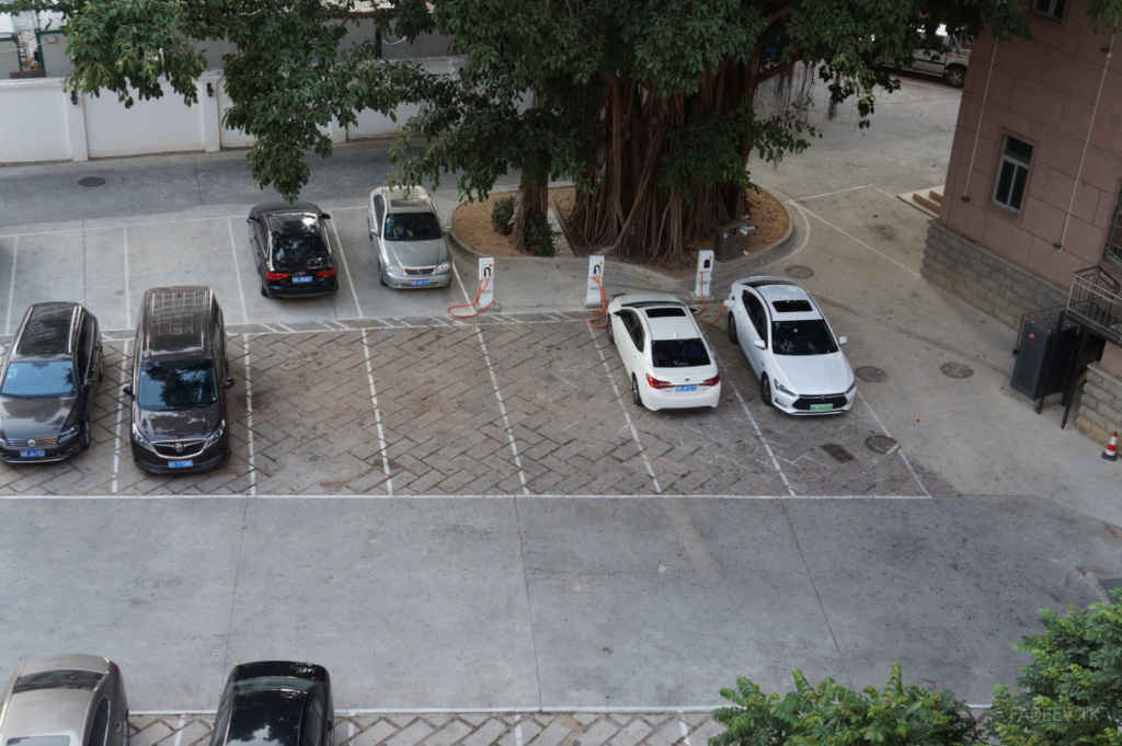 Charging stations for electric cars in the parking lot, Sanya, Hainan Island, China
