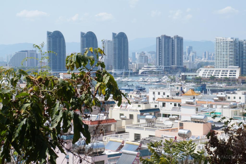 Roofs, skyscrapers and yachts. Sanya, Hainan, China