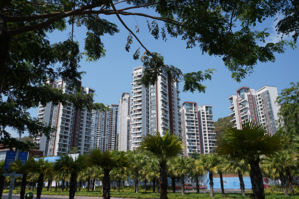 Palm trees on boulevard in front of residential buildings, Sanya, Hainan Island, China