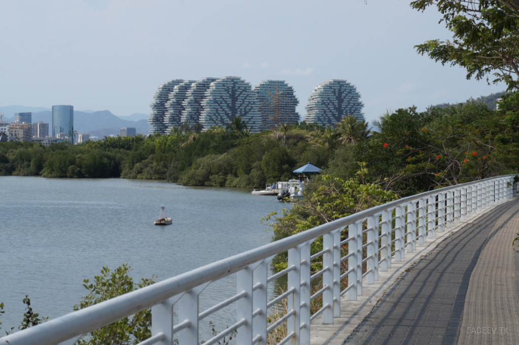 View of the Tree houses from the footbridge across the Lin Chun he River, Sanya, Hainan Island, China