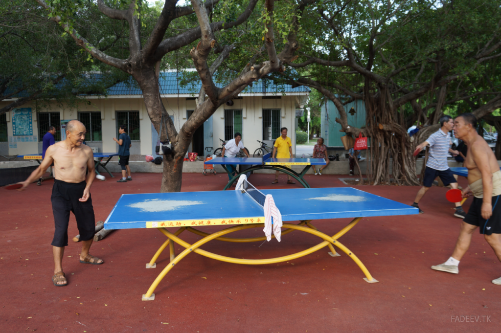 Residents play ping-pong in a park in Sanya, Hainan Island, China